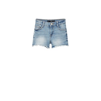 Short denim avec bas effiloché - denim bleu