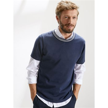 Cyrillus - Pull col rond manches courtes - bleu marine
