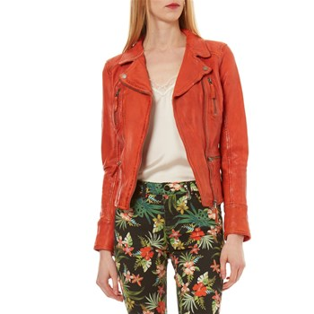 Camera - Veste en cuir - orange