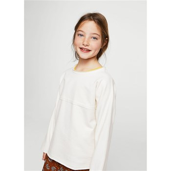 Sweat-shirt coton liseré - beige