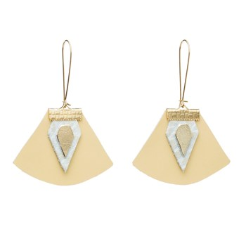 Charly James - Nadja - Boucles d'oreilles en cuir - jaune