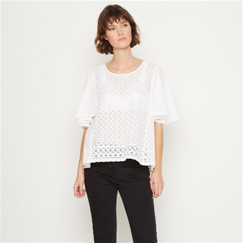 Top manches courtes avec broderie anglaise - blanc