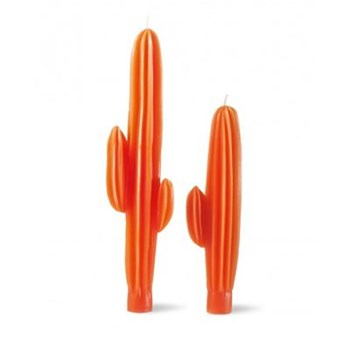 Capucine - Lot de 2 bougies flambeaux cactus 8h - orange