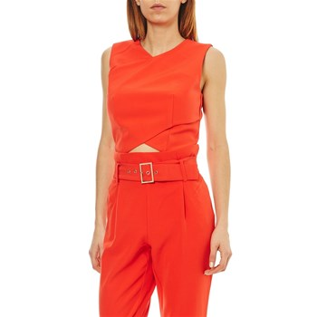 Morgan - Crop top uni devant croisé - orange