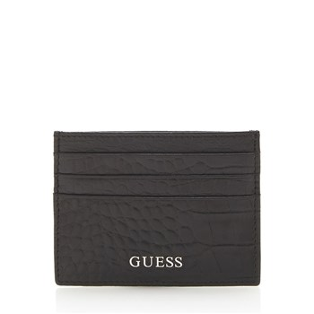 Guess - Rocky Crown - Porte-cartes croco cuir - noir