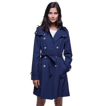 Trench and coat - Trench à capuche amovible - bleu
