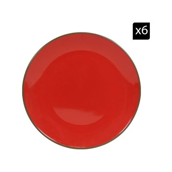 Novastyl - Brique - Set de 6 assiettes plates - rouge