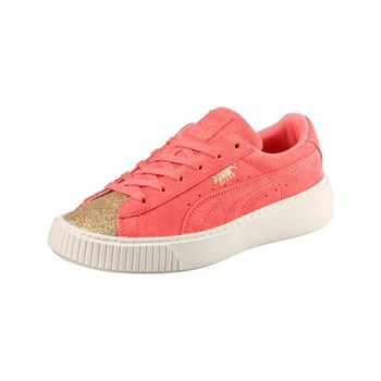 Puma - PS Suede plateform Glam - Baskets en cuir - corail