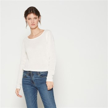Pull en coton en point fantaisie - ecru