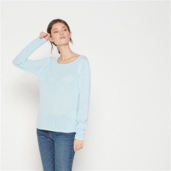 Pull en coton en point fantaisie - bleu ciel