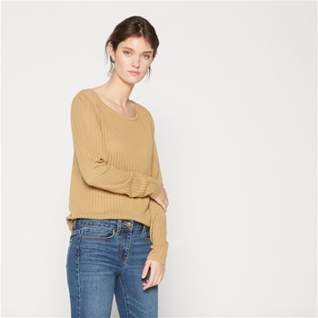 Pull en coton en point fantaisie - beige