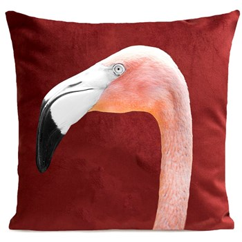 Artpilo - Mr Flamingo - Coussin en velours - rouge