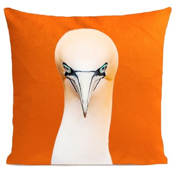 Artpilo - Northern Gannet - Coussin en velours - orange