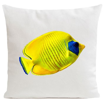 Artpilo - Yellow Fish - Coussin en velours - blanc
