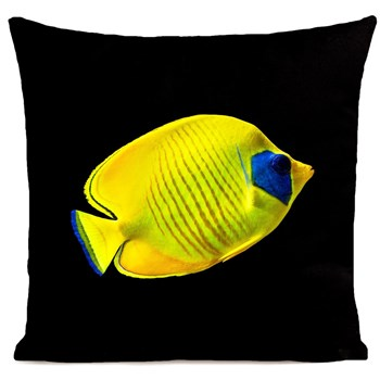 Artpilo - Yellow Fish - Coussin en velours - noir