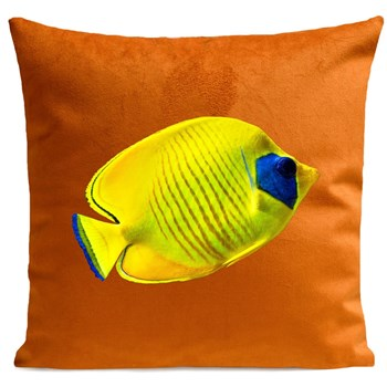 Artpilo - Yellow Fish - Coussin en velours - marron clair