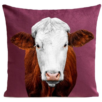 Artpilo - Mrs Cow - Coussin en velours - prune