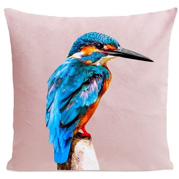 Artpilo - Little Blue Bird - Coussin en velours - rose clair
