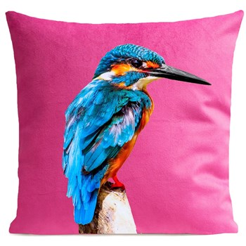 Artpilo - Little Blue Bird - Coussin en velours - rose