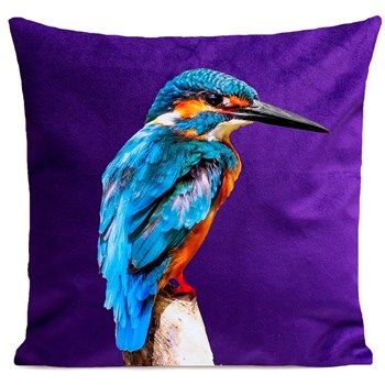 Artpilo - Little Blue Bird - Coussin en velours - violet