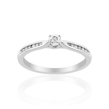 Cleor - Solitaire en or avec diamants - blanc