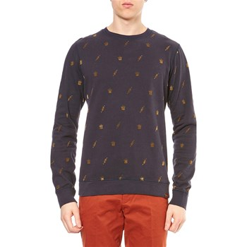 Scotch & Soda - Sweat shirt avec flocage effet velours - bleu marine