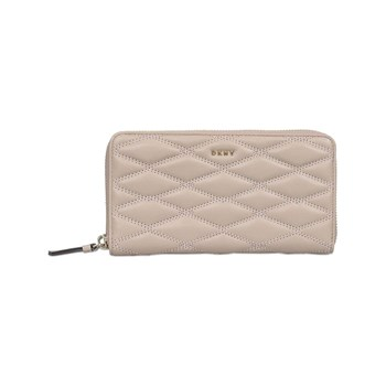 DKNY - Zip Around Diamond Quilt - Portefeuille en cuir - crème