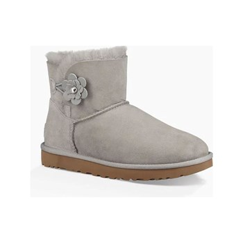 Ugg - Mini bailey button - Bottines en cuir ornée de cristaux Swarovski - gris
