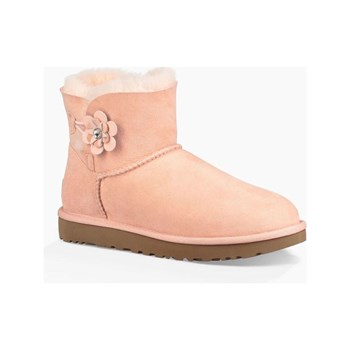 Ugg - Mini bailey button - Bottines en cuir ornées de cristaux Swarovski - pêche