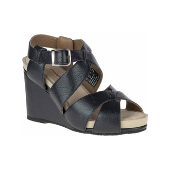 Hush Puppies - Fintan - Sandali con zeppa in pelle - nero