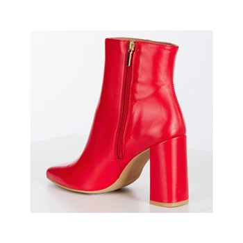 Morgan - Osic - Bottines bout pointu talon carré - rouge