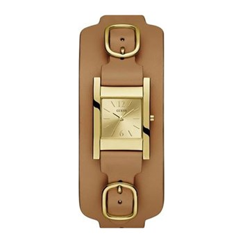 Guess - Buckle Up - Montre analogiqueen cuir - marron