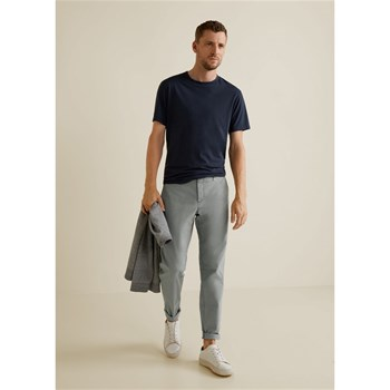 Mango Man - Chino slim-fit coton - gris