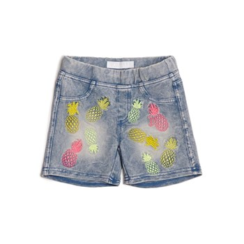 Guess Kids - Short en jean broderies ananas - bleu