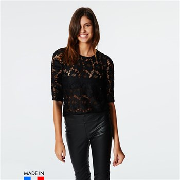 BrandAlley La Collection - ZOLA - Top en guipure manches 3/4 - noir