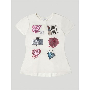 Guess Kids - T-shirt applications frontales - blanc
