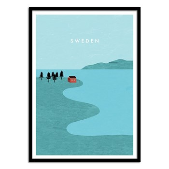 Wall Editions - Sweden - Affiche art 50 x 70 cm - bleu