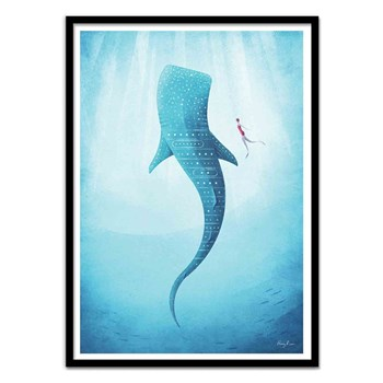 Wall Editions - Whale Shark - Affiche art 50 x 70 cm - bleu