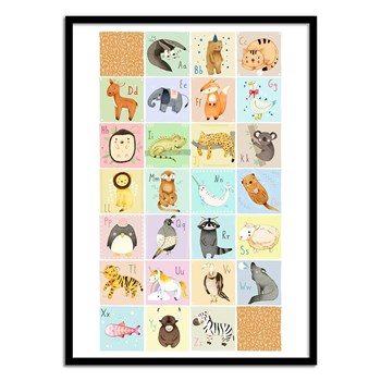Wall Editions - English animal alphabet - Affiche art 50 x 70 cm - multicolore