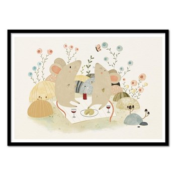 Wall Editions - Romantic Mice - Affiche art 50 x 70 cm - multicolore