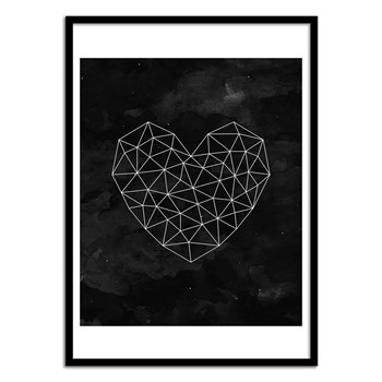 Wall Editions - Geometric Heart - Affiche art 50 x 70 cm - bicolore