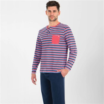 Eminence - Pyjama long homme col T casual - bicolore