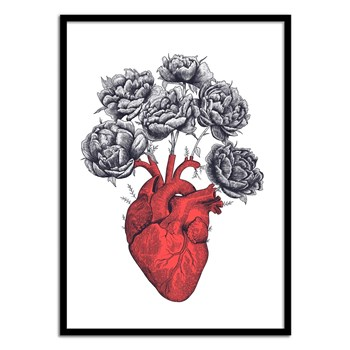 Wall Editions - Design Illustration - Heart with Peonies - Affiche art 50x70 cm