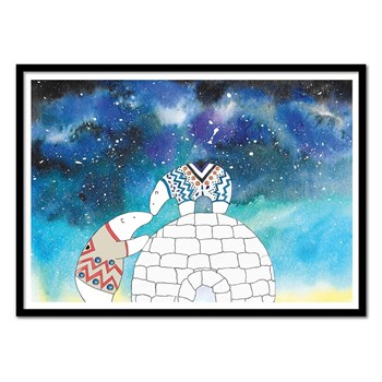 Wall Editions - Illustration Bébé Enfant - Love under the stars - Affiche art 50x70 cm