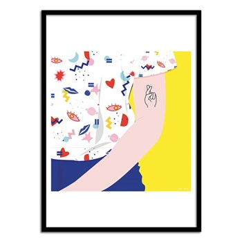Wall Editions - Fashion Illustration - Crossed fingers - Affiche art 50x70 cm