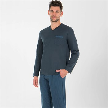 Eminence - Tailoring - Pyjama long col V - anthracite