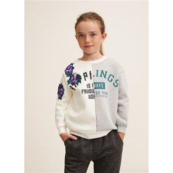Mango Kids - Sweat-shirt à message sequins - bicolore
