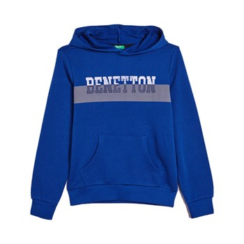 Benetton - Sweat à capuche - bleu