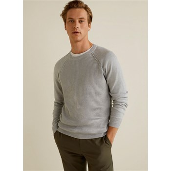 Mango Man - Pull-over côtes anglaises - gris