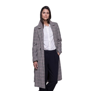 Trench and coat - Manteau long à nouer en tissu pied de poule - gris